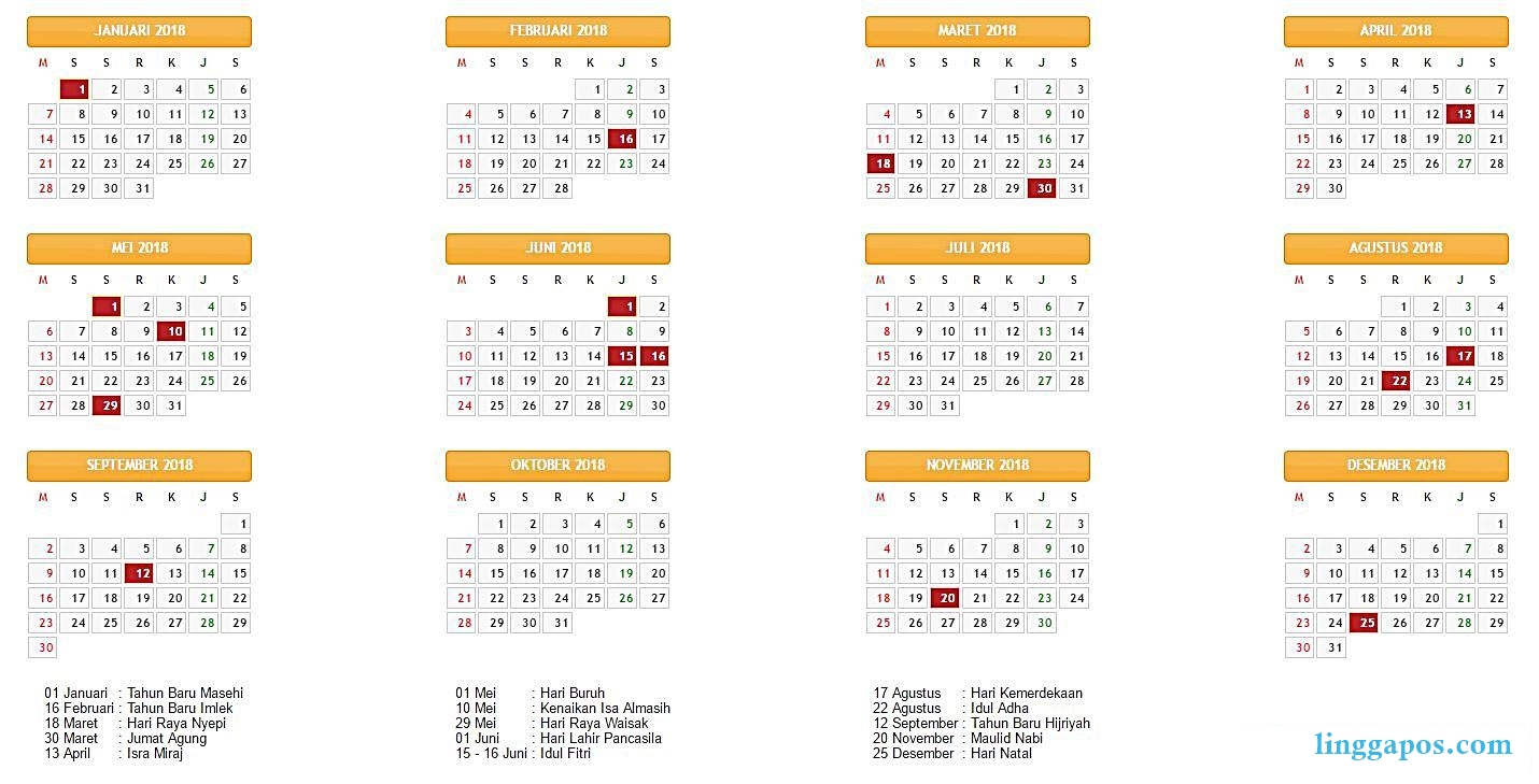 kalender libur dan cuti 2018
