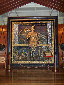 A bronze mural of Hang Tuah with Tak Melayu Hilang Di Dunia (source : Wikipedia)